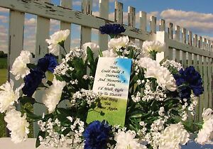 Fathers-Day-Headstone-Saddle-Cemetery-Memorial-Flowers-Carnations-Funeral-Silk