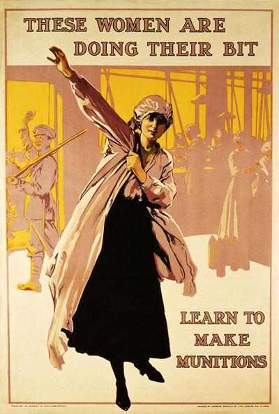 2W84 Vintage WWI Women Doing Their Bit Munitions Factory War WW1 Poster A4