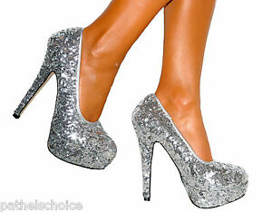 LADIES-SILVER-SEQUIN-STILETTO-HEELS-PLATFORM-COURT-SHOE-WEDDING-PARTY-size-3-8