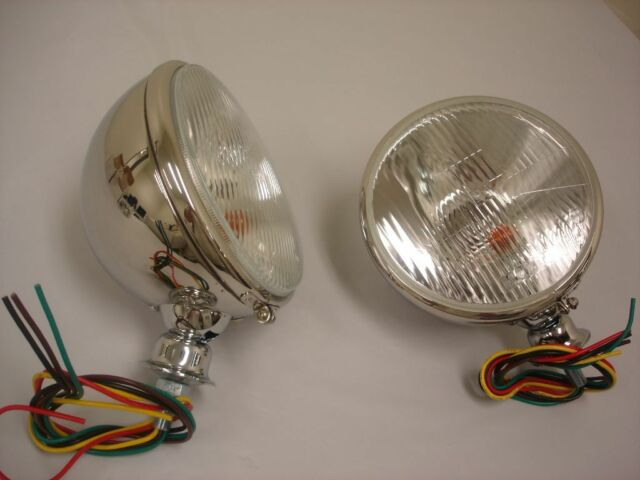"""7"""" King Bee Headlights Head Lamps Bucket H4 - CHROME with Built In Turn Signal"""