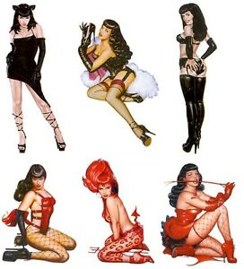 6-SEXY-BETTIE-PAGE-BETTY-HOTROD-STICKERS-DECALS-RARE