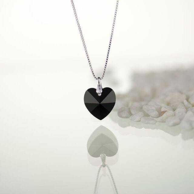 Kette, Halskette 925 Silber mit Swarovski Elements Herz Farbe Jet