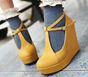 Ladies-Fashion-Buckle-Strap-Round-Toe-High-Heels-Platform-Pumps-Wedge-Shoes-414