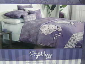 NEW-STYLE-HAPPY-Pippa-King-DUVET-COVER-and-Shams-Set-Purple-White-Floral-3-PC