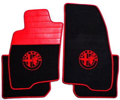 PREMIUM VELOURS MAT SET BLACK/RED FOR Alfa Romeo 159