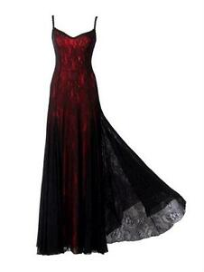 Victorian-Style-Michal-Negrin-Red-Black-Dress-with-Spaghetti-Strap-and-Laces