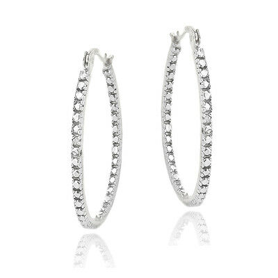 Silver Tone Diamond Accent 33mm Hoop Earrings