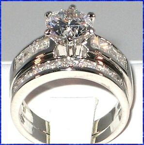 CLASSIC-3-86-Ct-CZ-Platinum-EP-Wedding-Bridal-Engagement-Ring-Set-SIZE-7