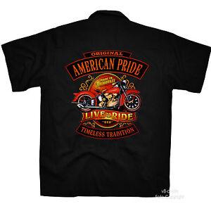 Biker-Vintage-Moto-Bici-Oldtimer-Worker-Shirt-Officina-Camicia-Lavoro-4253