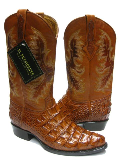 Men's Cognac Brown Alligator Crocodile Back Cut Cowboy Boots Western