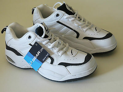 L.A. Gear  Mens Leather White and Navy Walking Sneaker Shoes
