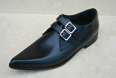 New Mens 2 Strap Black Leather Retro Sole Winkle Picker Shoes