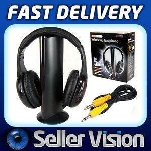 rf kopfh rer headset kabellos mit mikrofon f r pc tv dvd. Black Bedroom Furniture Sets. Home Design Ideas