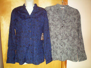 NWT-NEW-womens-ladies-size-L-12-14-blue-gray-black-crinkly-l-s-shirt-blouse-top