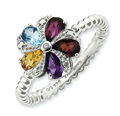 Sterling Silver Flower Ring Multi Color Gemstones, Birthstone Ring QSK791