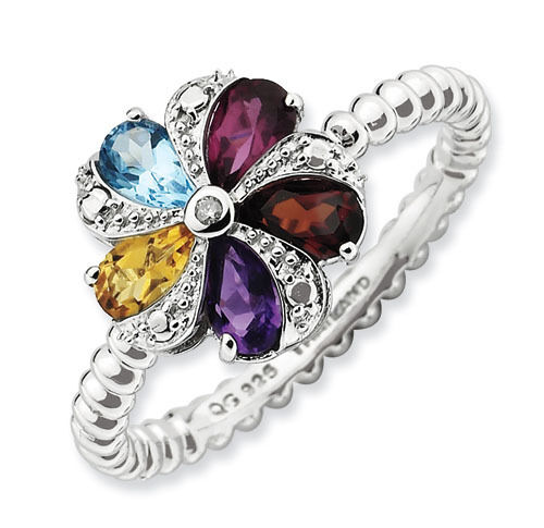 Sterling Silver Flower Ring Multi Color Gemstones, Birthstone Ring QSK791