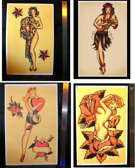 FOUR Sexy Pin Up Girls Nude vintage Sailor Jerry Traditional Tattoo poster print