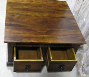 2 drawer flip top coffee table mango wood ebay. Black Bedroom Furniture Sets. Home Design Ideas