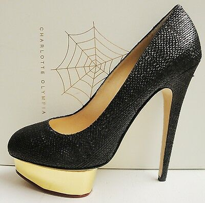 Charlotte Olympia Dolly Black Raffia Platform High Pumps Heel Shoes 41