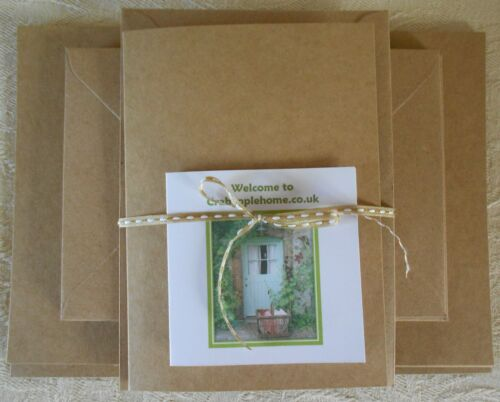 40 Pack A6/C6 Recycled Kraft Card Blanks & Envelopes 300gsm Natural Eco Friendly