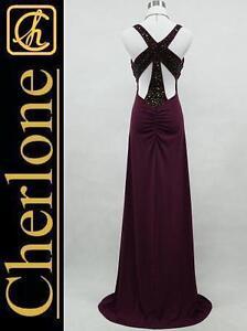 Cherlone-Dark-Purple-Long-Backless-Sparkle-Prom-Ball-Gown-Evening-Dress-Size-12