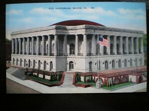 LINEN POSTCARD  USA MACON CITY AUDITORIUM GA - Tadley, United Kingdom - Full Refund less postage if not 100% satified Most purchases from business sellers are protected by the Consumer Contract Regulations 2013 which give you the right to cancel the purchase within 14 days after the day you receive th - Tadley, United Kingdom