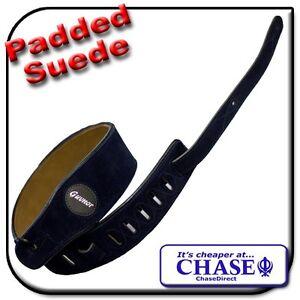 Navy-Blue-Padded-Guitar-Shoulder-Strap-Adjustable-Suede-Leather-112cm-to-130cm