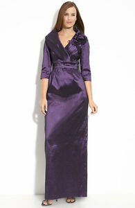 Eliza j purple textured taffeta portrait collar gown dress size 6