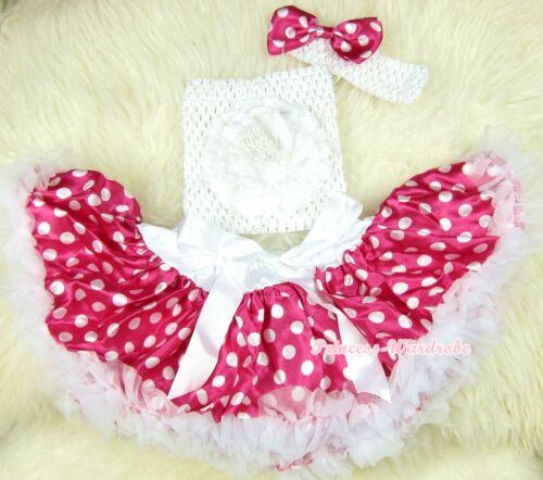 Newborn Baby Dark Hot Pink White Dots Pettiskirt Tube Top headband 3PC Set NB-3Y