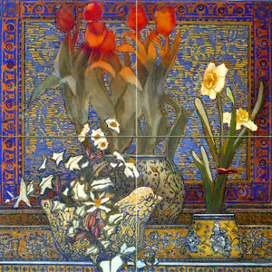 Art-Accent-Flowers-Mural-Tumbled-Marble-Colorful-Tile-191