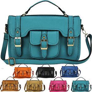 New-Ladies-Womens-Designer-Leather-Style-Vintage-Satchel-Tote-Saddle-Bag-Handbag