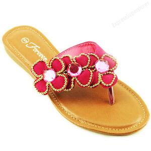 907132a7aebd62 Details about Womens Flower Flip Flops Flat Beach Sandal Gemstone Style  Thongs Flats Sandals
