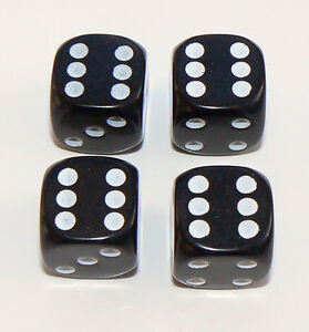 Set-of-Four-Black-Dice-Dust-Caps-X4-80-039-s-Retro-Valve-Caps-BMX-VW