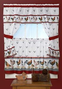 ROOSTER-5-Piece-Kitchen-Cottage-Curtain-Set-WINDOW-CURTAIN-24-034-L-top-of-morning
