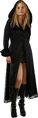 Gothic Outwear Victoria Pirate Carribean Long Coat Girl Black with Hood 2 Sizes