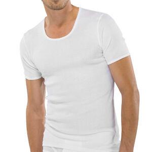 Schiesser-Hombre-Acanalado-Camiseta-Camiseta-interior-5-6-7-8-9-blanco-NUEVO