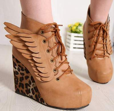 Hot Angel Wings Sexy Wedge Heels Platform Leopard Round Toe Womens Boots Shoes