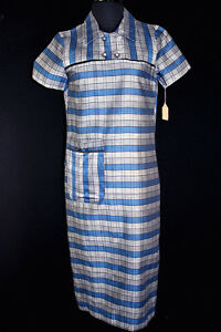 RARE-VINTAGE-DEADSTOCK-1950-039-S-RAYON-BLUE-AND-SILVER-POLISHED-COTTON-DRESS-SIZE-6