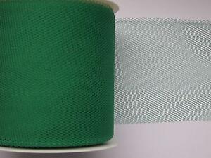 Tuell-50-mm-50-m-Tischlaeufer-Tischband-Tuellband-Stoff-Deko-Band-gruen-DUNKELGRUN
