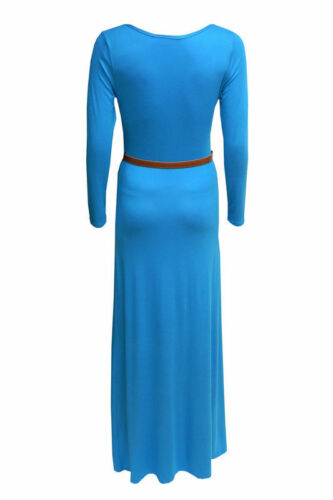 WOMENS LADIES MAXI DRESS BELTED LONG SLEEVE JERSEY DRESSES  SKIRT TOPS SIZE 8-14