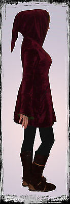 RED PIXIE MEDIEVAL POINTY HOOD VELVET TOP JACKET COAT 10 S goth occult emo