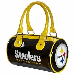 44060-NEW-Pittsburgh-Steelers-Licensed-NFL-Patent-Leather-Roll-Purse-Hand-Bag