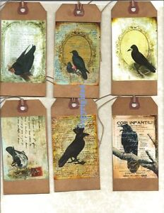 12-PRIMITIVE-TAGS-The-Raven-HANG-TAGS-folk-Grungy