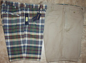 NWT-98-Polo-Ralph-Lauren-Reversible-Shorts-Plaid-Tan-32-33-34-35-36-38-40-42