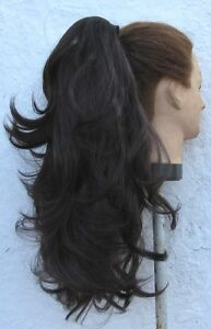 dark brown wavy curly  straight 2 ways clip in pony tail hair extension piece - <span itemprop=availableAtOrFrom>Slough, United Kingdom</span> - Return in 7 days, unused Most purchases from business sellers are protected by the Consumer Contract Regulations 2013 which give you the right to cancel the purchase within 14 days after t - Slough, United Kingdom
