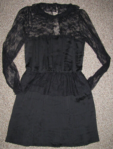 NEW FREE PEOPLE Pleated Crepe YOUNG VICTORIAN Lace DRESS 0 2 4 6 8 12 $228