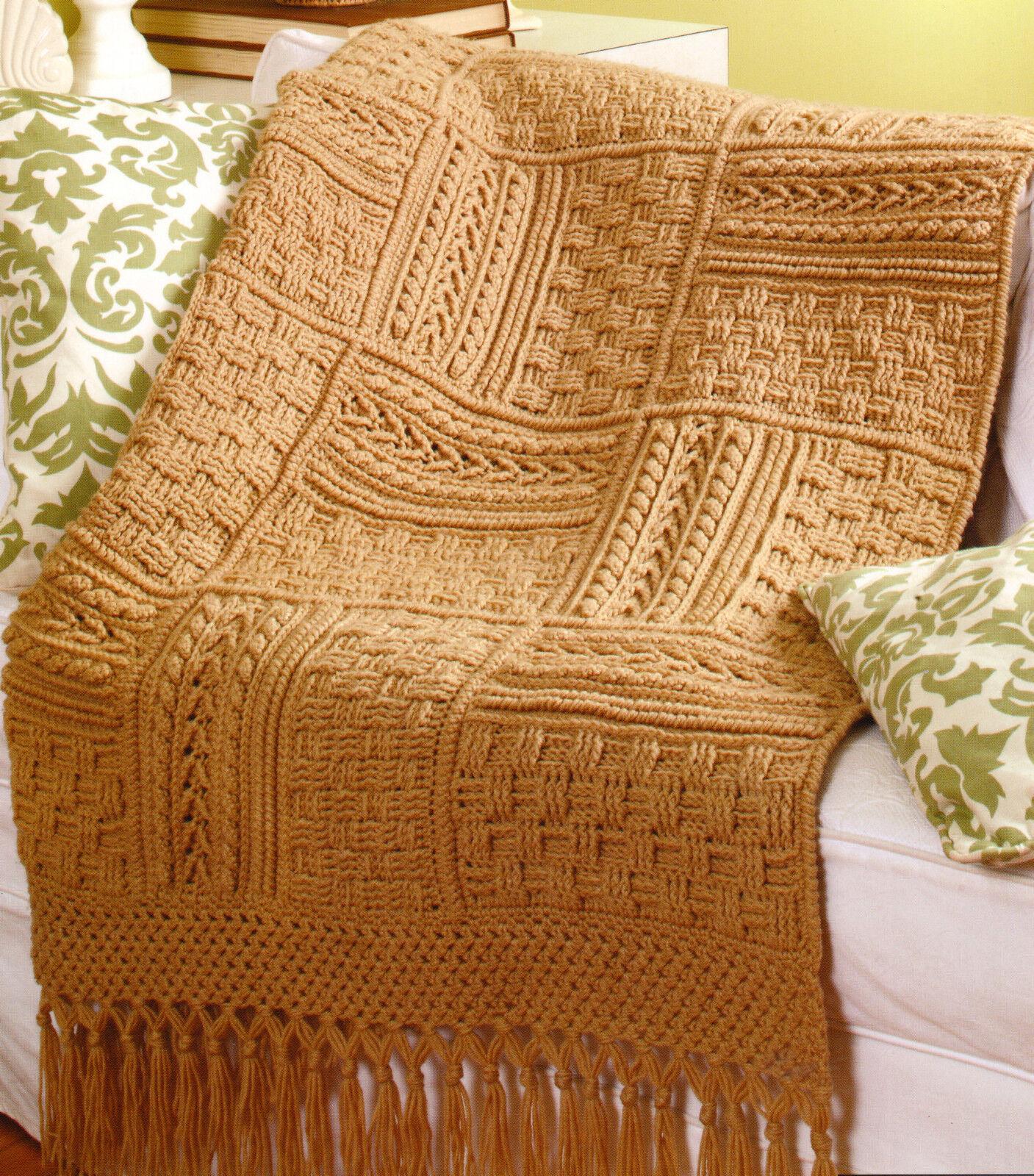 Crochet Pattern ~ Aran Sampler Throw with Fringe 60\