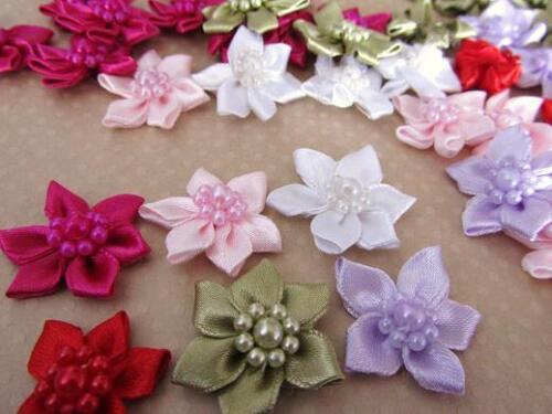 "60 Satin Ribbon 1/"" Bow Flower//Pearl Bead Trim//pink//purple//white//red//green F43"