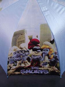 BNIP-Boy-039-s-or-Girls-Cute-Blue-Smurfs-Print-Auto-Opening-Umbrella-Bonus-Whistle