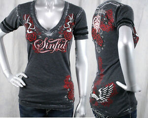 AFFLICTION-Sinful-women-039-s-LOLA-T-shirt-love-amp-pride-roses-burnout-black-S2509